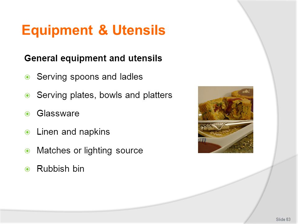 Equipment & Utensils General equipment and utensils