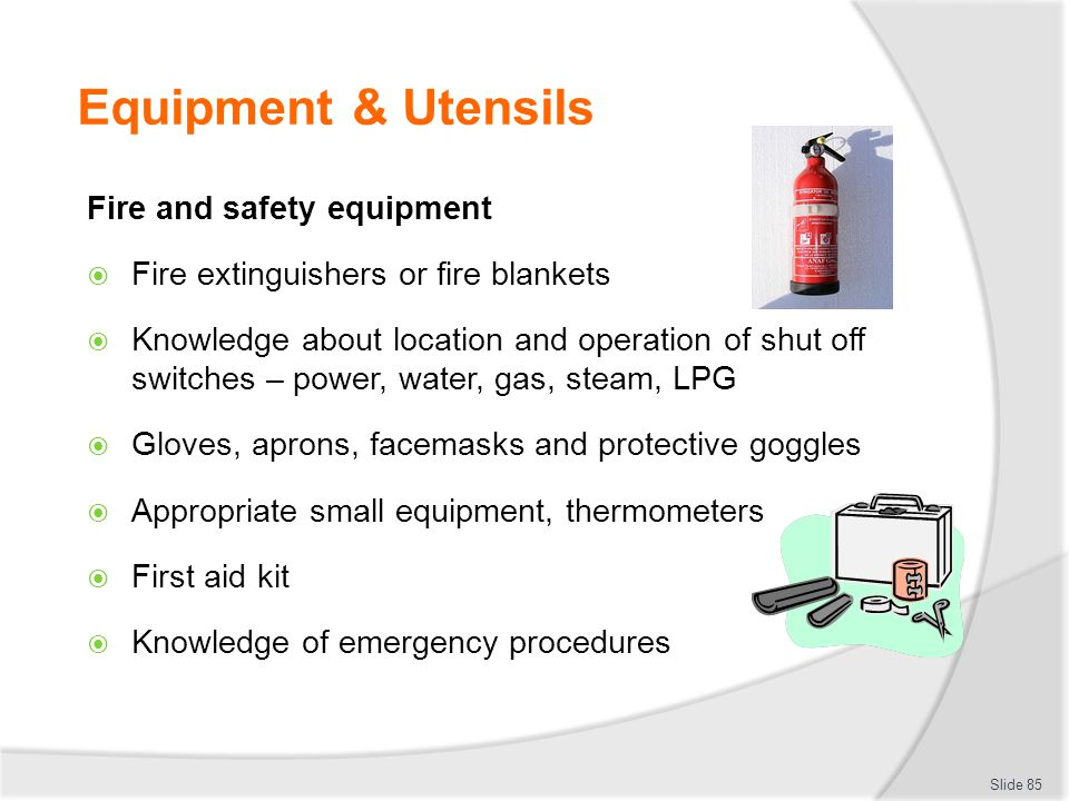 Equipment & Utensils Fire and safety equipment