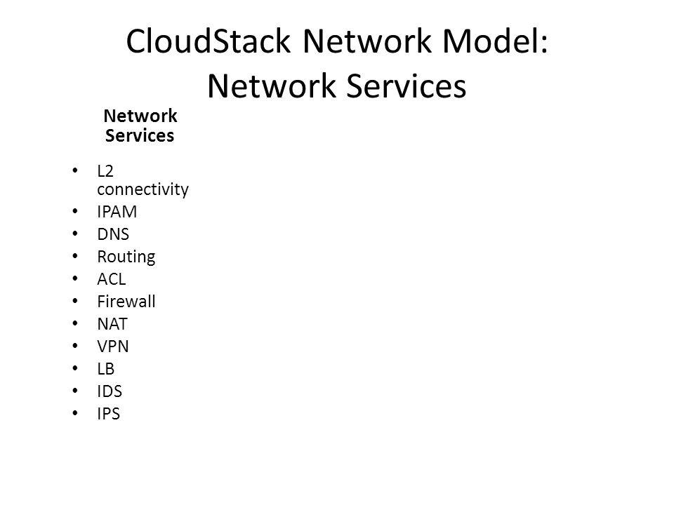 CloudStack Network Model: Network Services