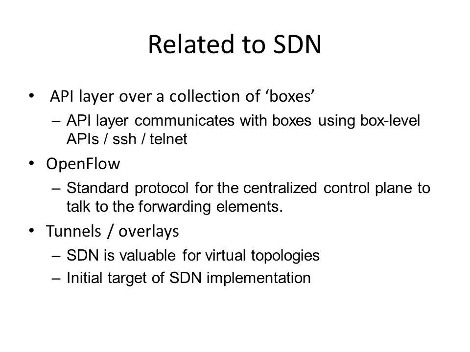 Related to SDN API layer over a collection of 'boxes' OpenFlow