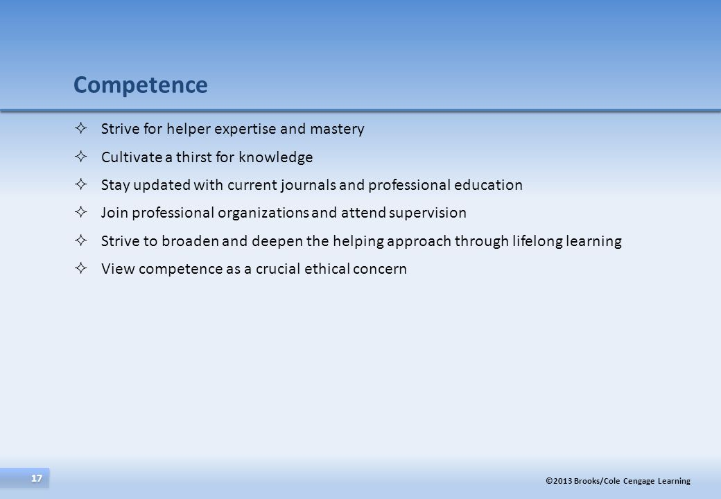 Competence Strive for helper expertise and mastery