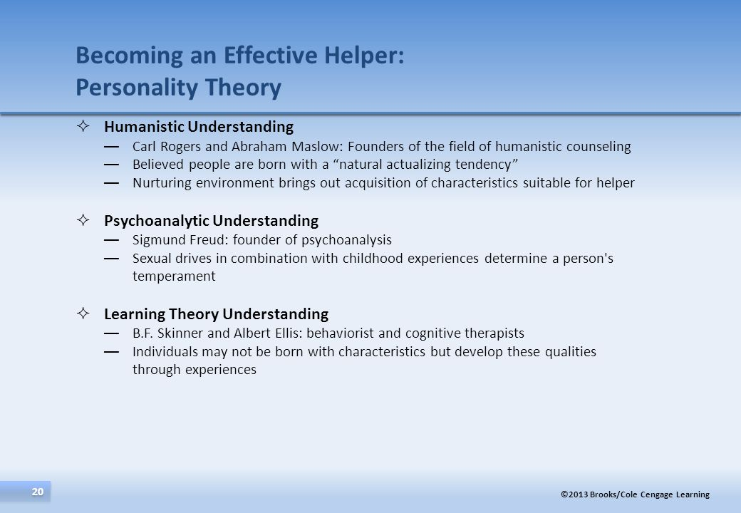 Becoming an Effective Helper: Personality Theory