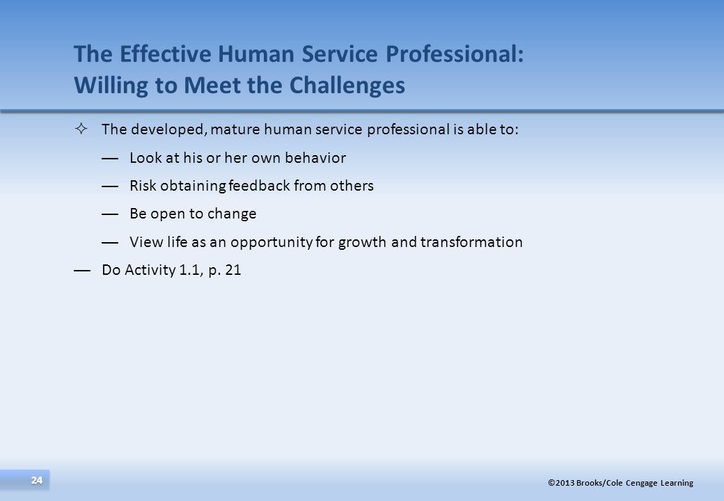 The Effective Human Service Professional: Willing to Meet the Challenges