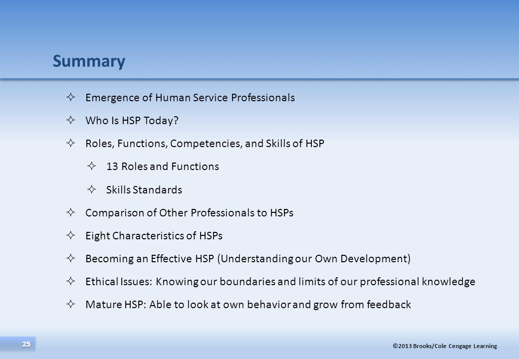 Summary Emergence of Human Service Professionals Who Is HSP Today