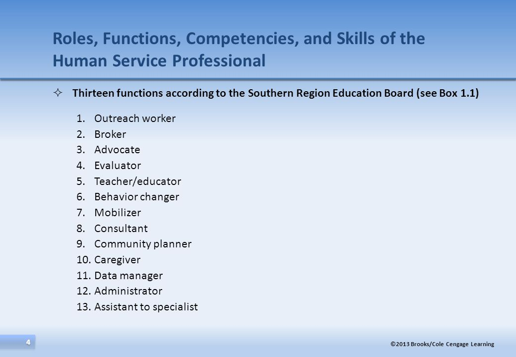 Roles, Functions, Competencies, and Skills of the Human Service Professional