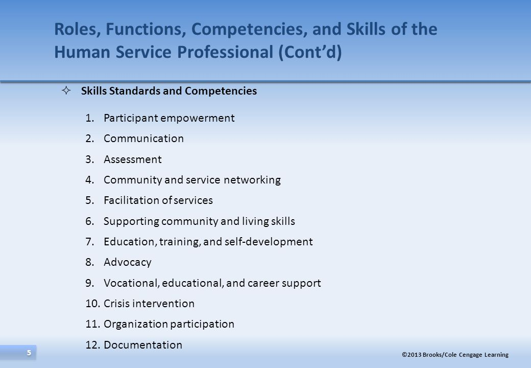 Roles, Functions, Competencies, and Skills of the Human Service Professional (Cont'd)