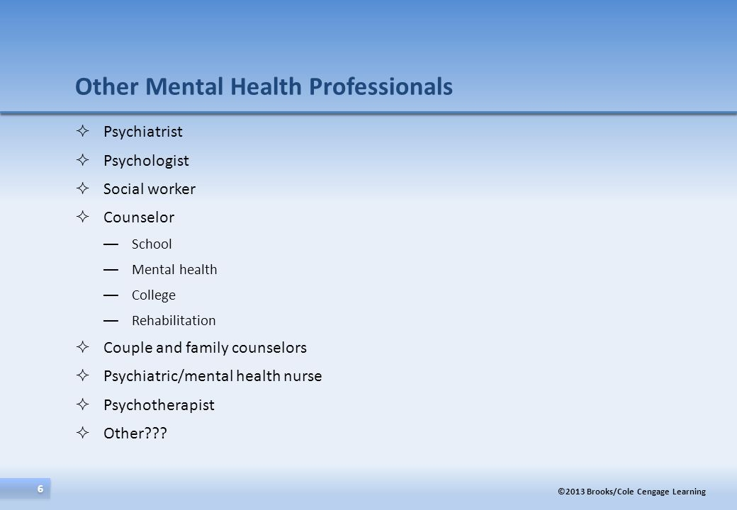 Other Mental Health Professionals
