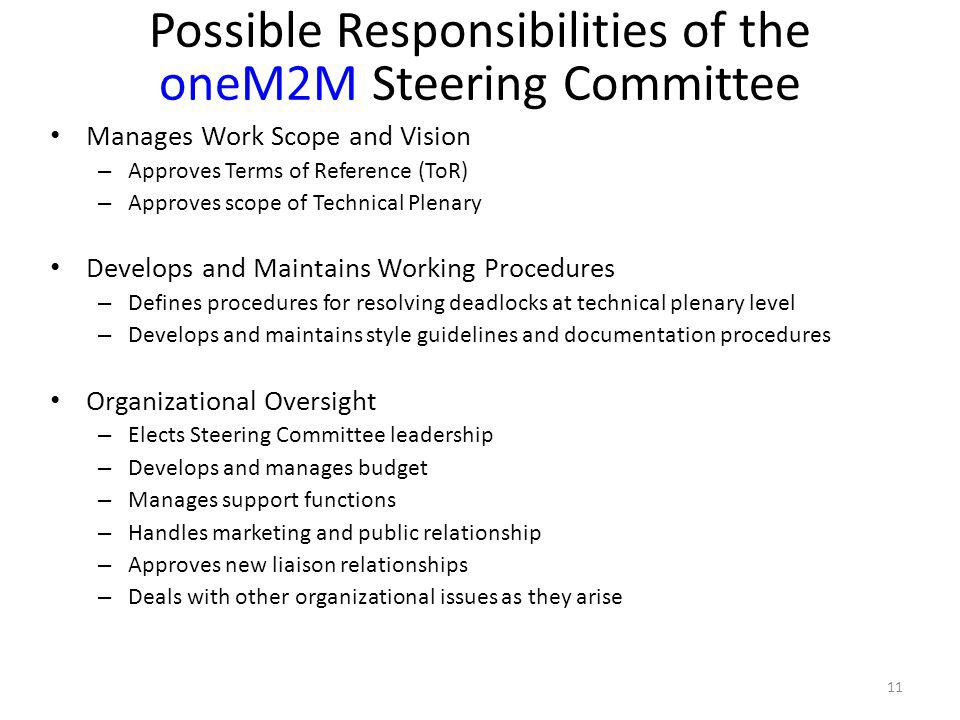 Possible Responsibilities of the oneM2M Steering Committee