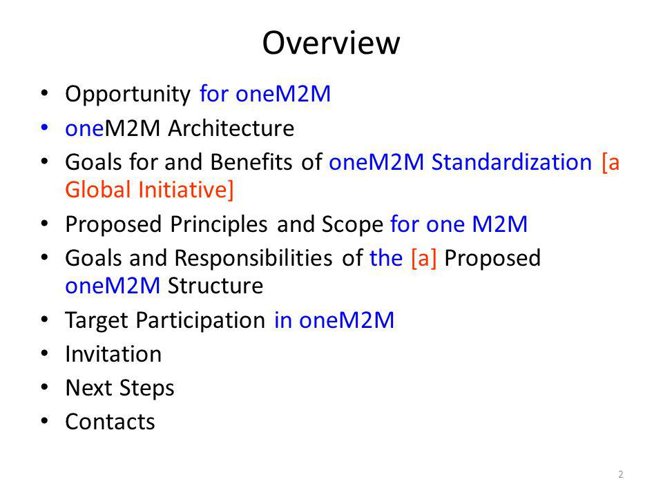 Overview Opportunity for oneM2M oneM2M Architecture