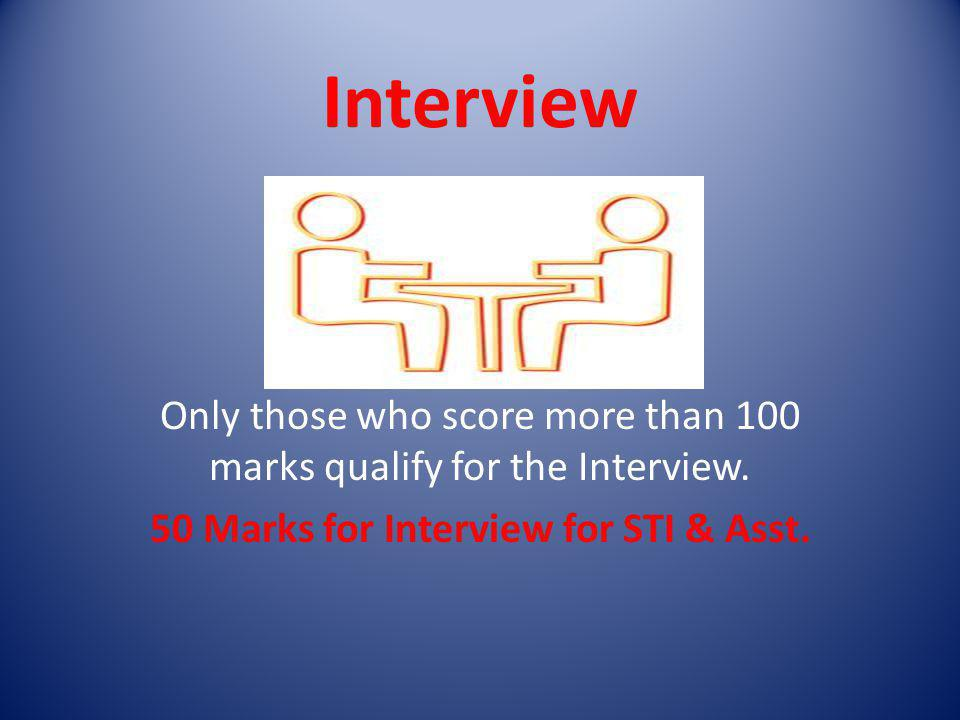 50 Marks for Interview for STI & Asst.