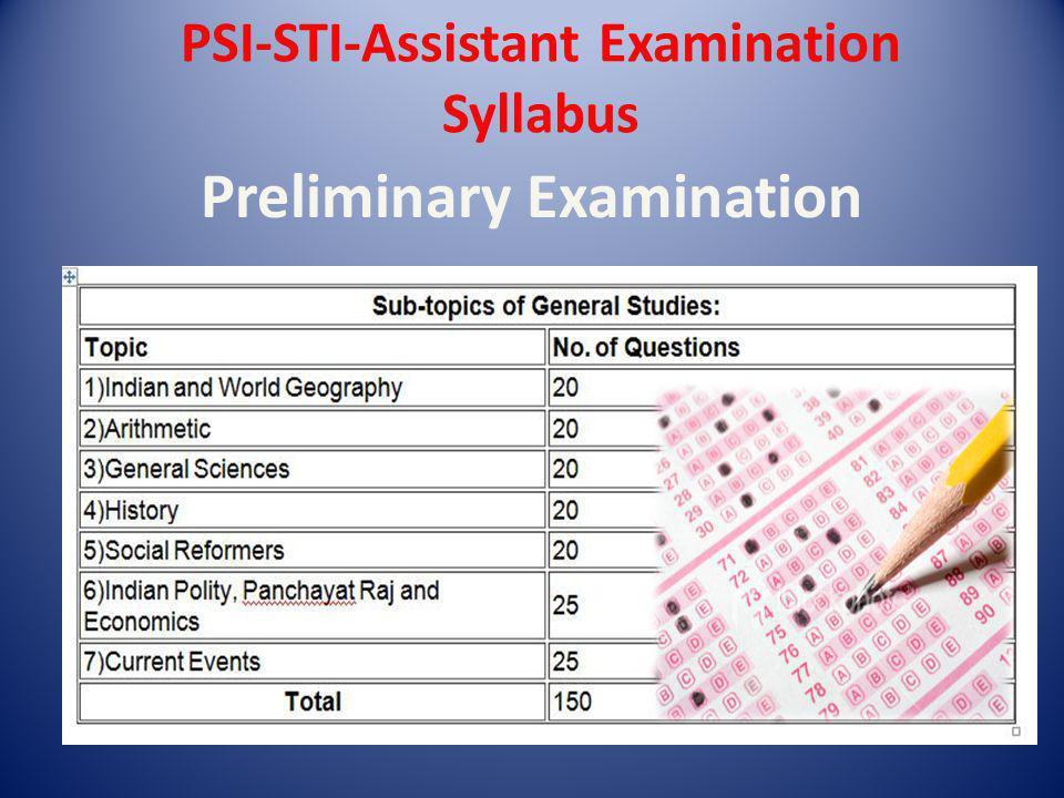 PSI-STI-Assistant Examination Syllabus