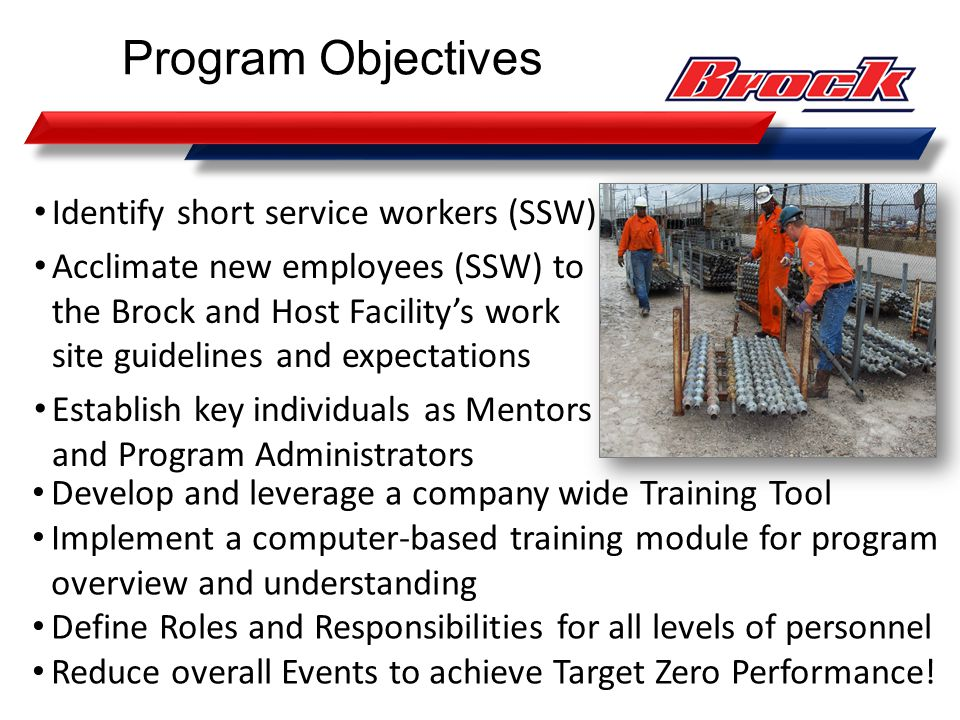Program Objectives Identify short service workers (SSW)