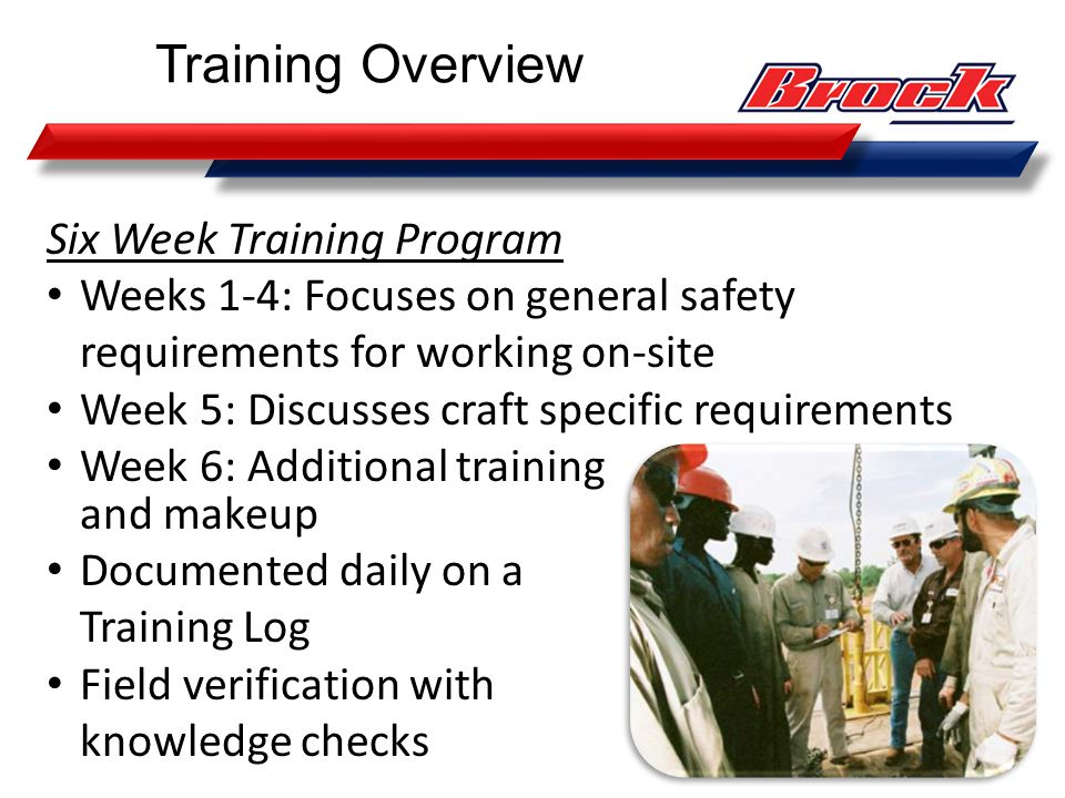 Training Overview Six Week Training Program