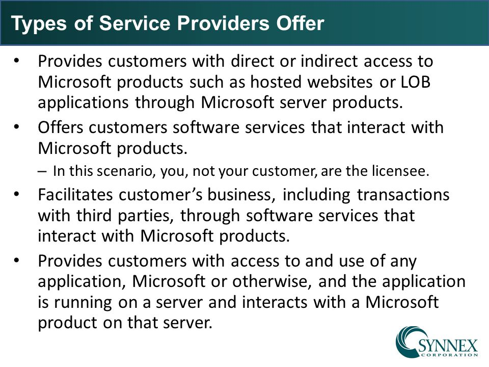 Types of Service Providers Offer
