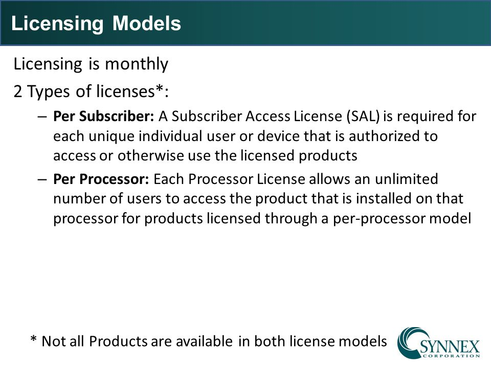 Licensing Models Licensing is monthly 2 Types of licenses*: