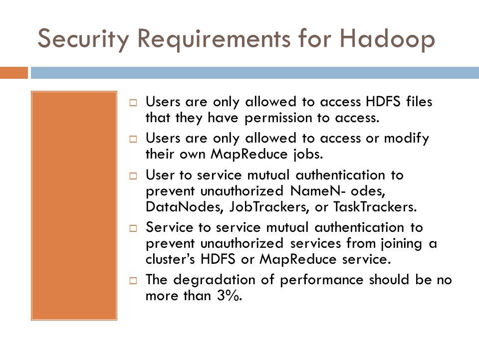 Security Requirements for Hadoop