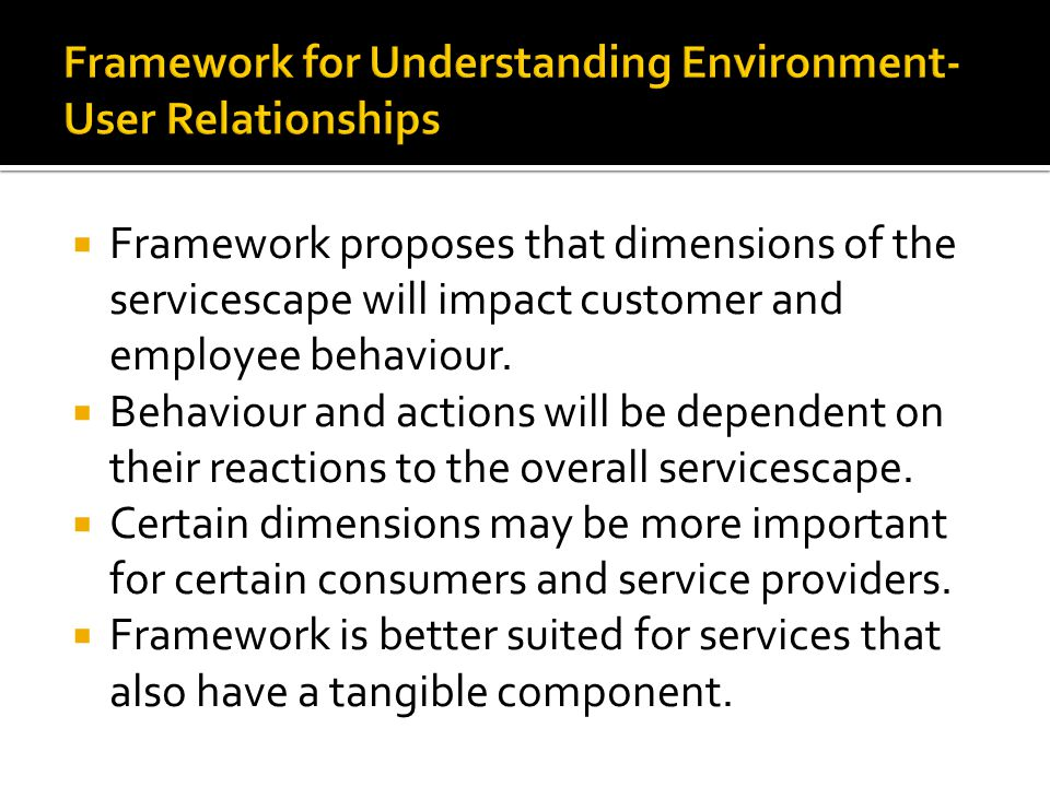 Framework for Understanding Environment-User Relationships