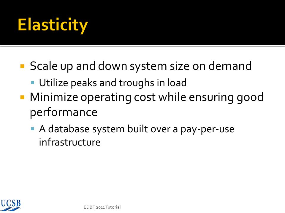 Elasticity Scale up and down system size on demand