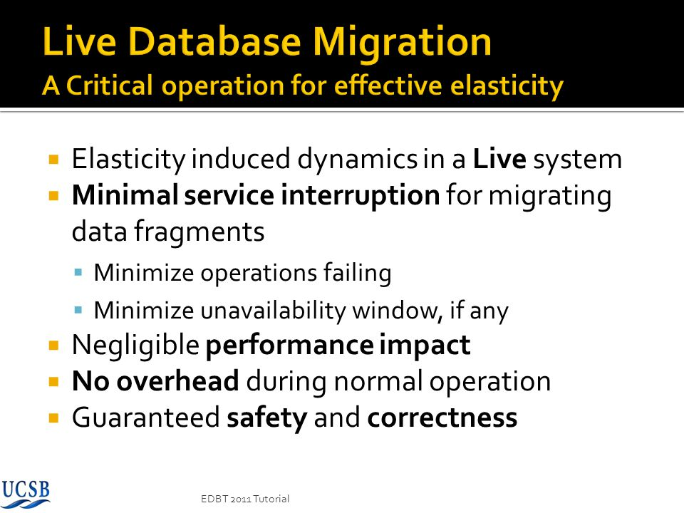 Live Database Migration A Critical operation for effective elasticity