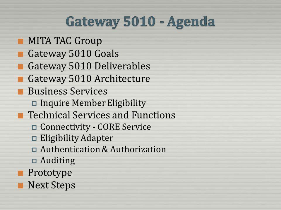 Gateway 5010 - Agenda MITA TAC Group Gateway 5010 Goals