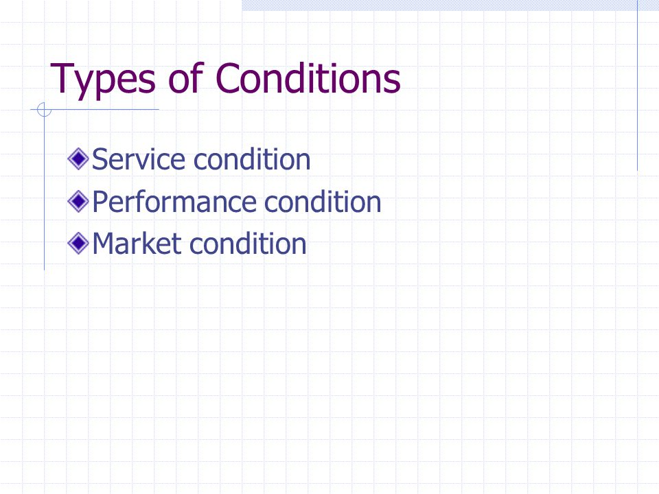 Types of Conditions Service condition Performance condition