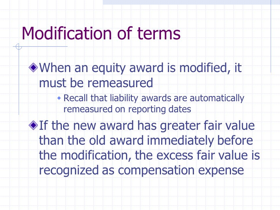 Modification of terms When an equity award is modified, it must be remeasured.
