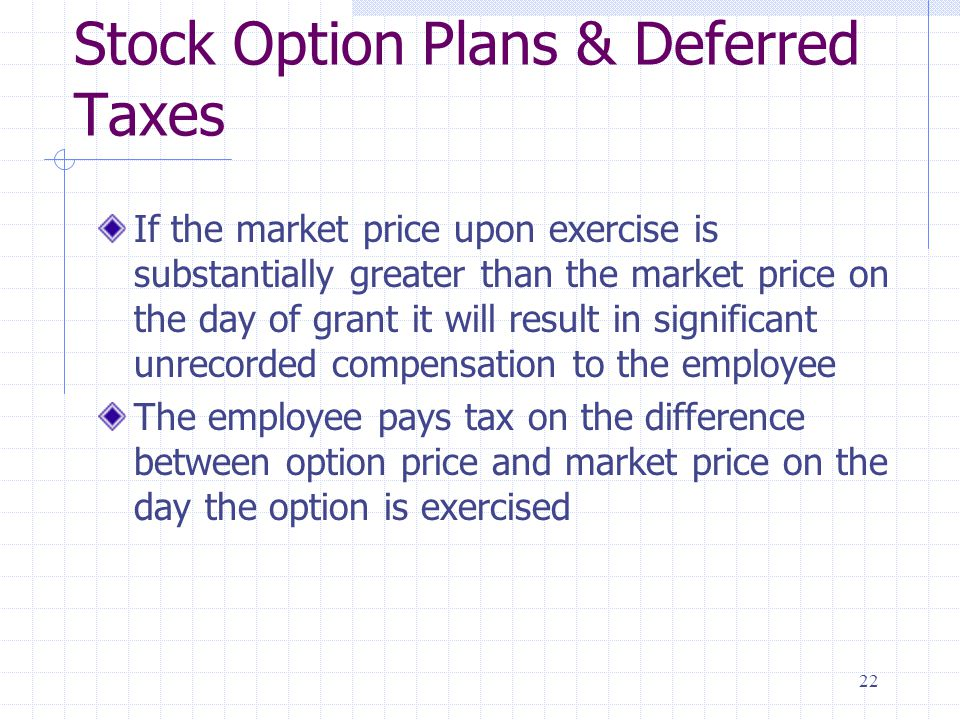 Stock Option Plans & Deferred Taxes