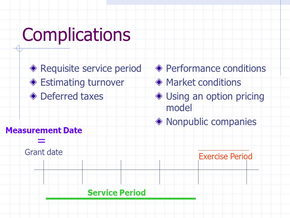 Complications = Requisite service period Estimating turnover