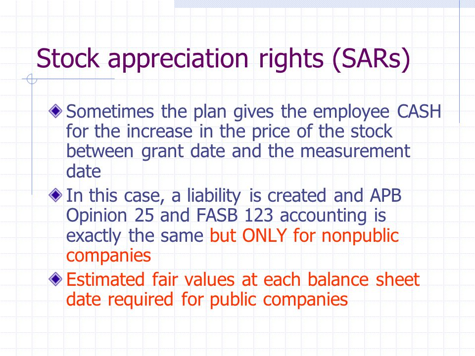 Stock appreciation rights (SARs)