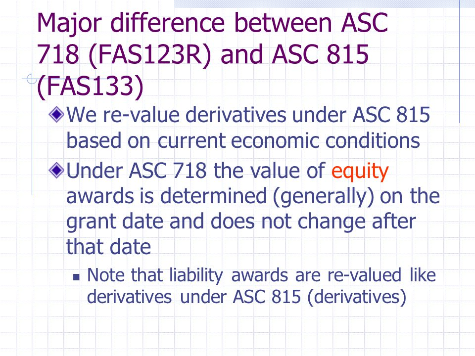 Major difference between ASC 718 (FAS123R) and ASC 815 (FAS133)