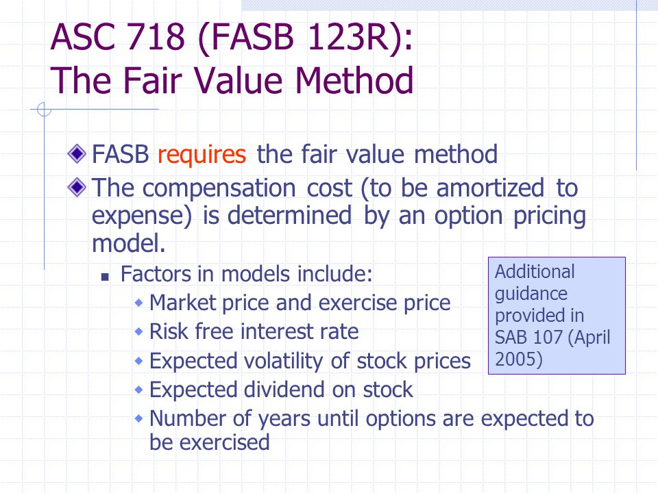 ASC 718 (FASB 123R): The Fair Value Method