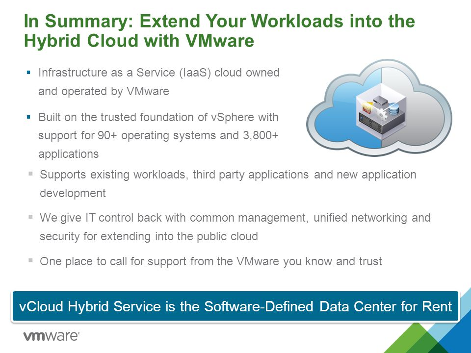 In Summary: Extend Your Workloads into the Hybrid Cloud with VMware