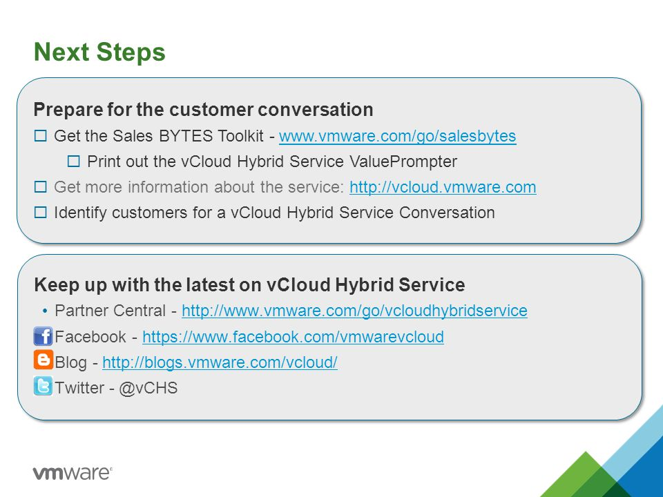 Next Steps Prepare for the customer conversation