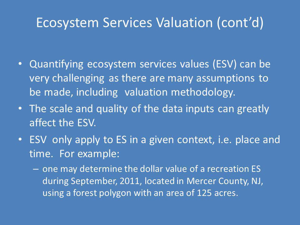 Ecosystem Services Valuation (cont'd)