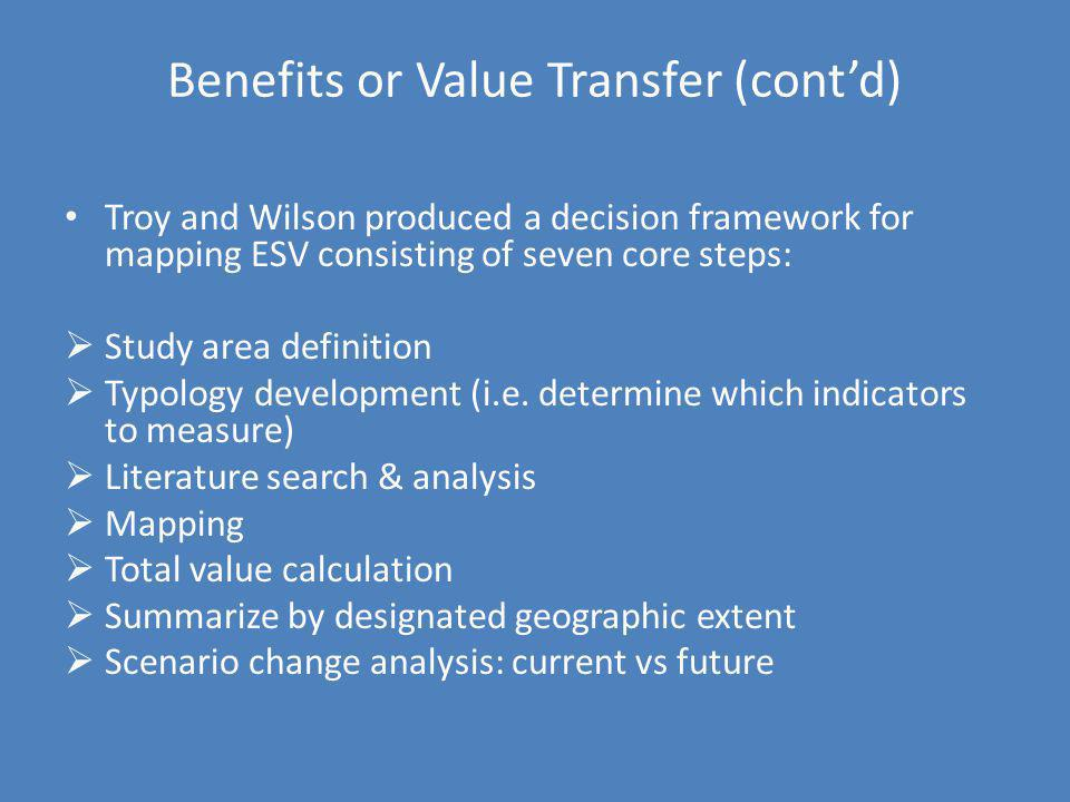 Benefits or Value Transfer (cont'd)