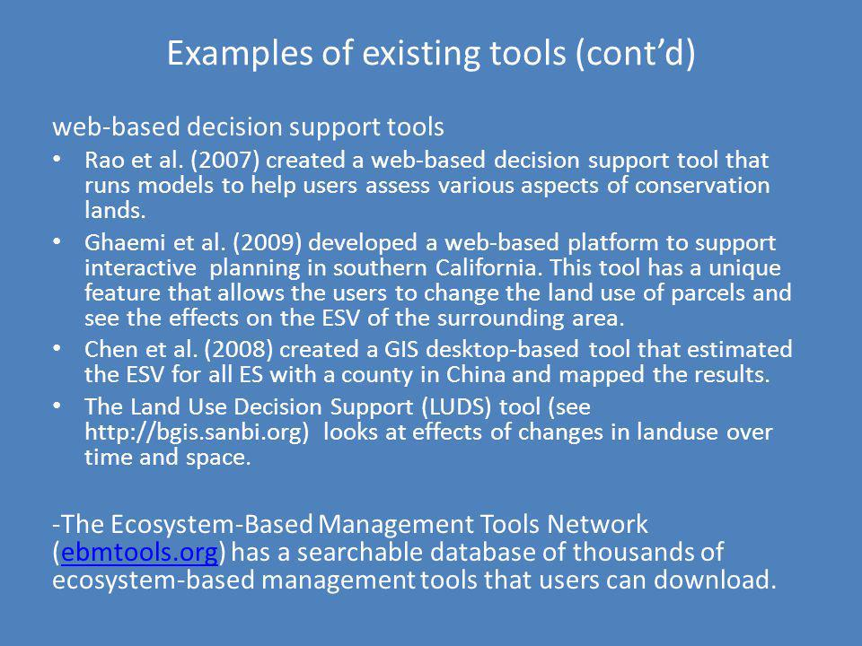 Examples of existing tools (cont'd)
