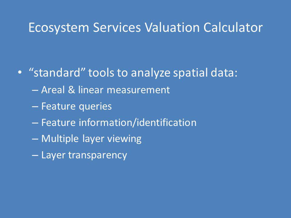 Ecosystem Services Valuation Calculator