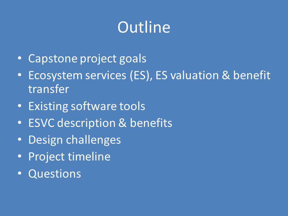 Outline Capstone project goals