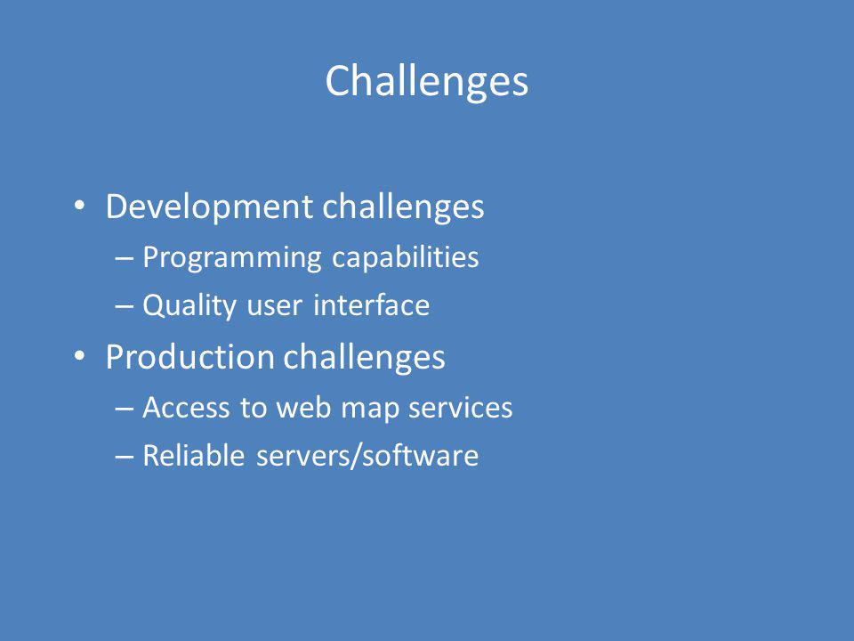 Challenges Development challenges Production challenges
