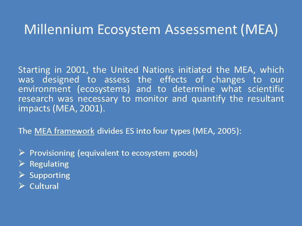 Millennium Ecosystem Assessment (MEA)