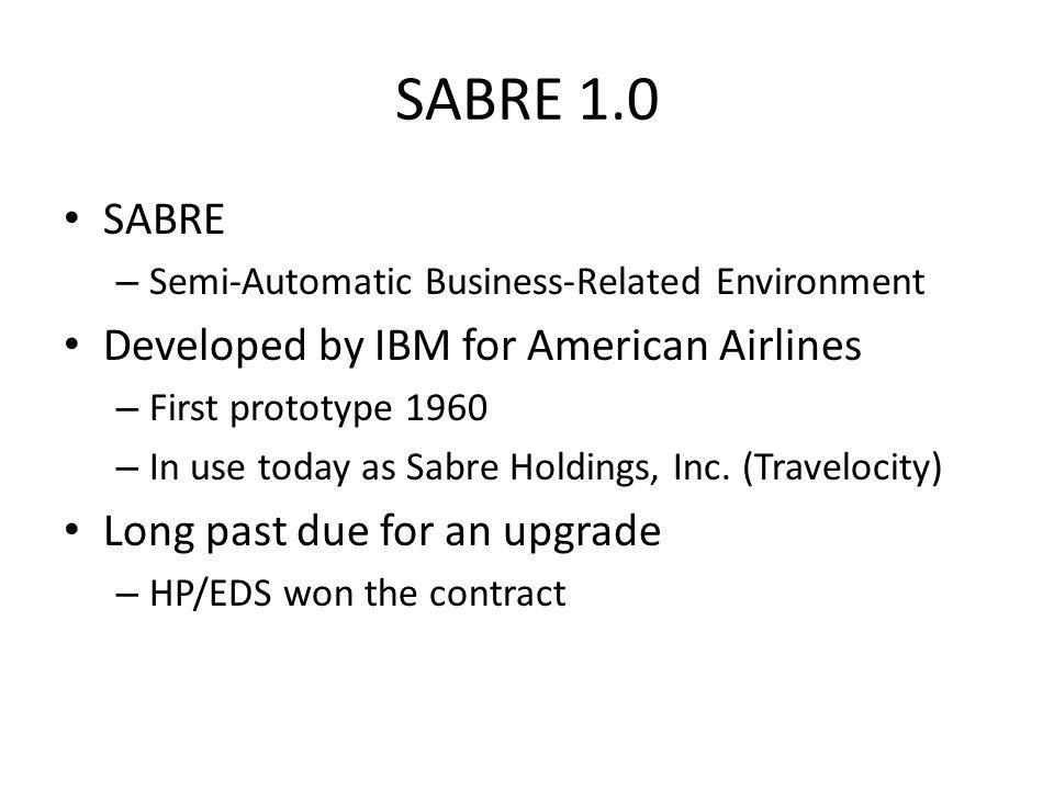 SABRE 1.0 SABRE Developed by IBM for American Airlines