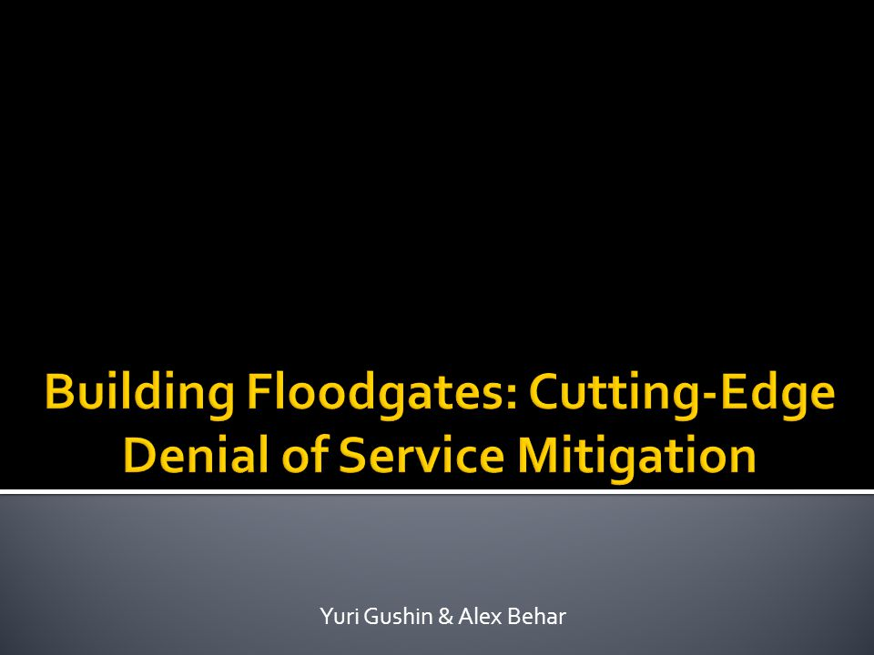 Building Floodgates: Cutting-Edge Denial of Service Mitigation