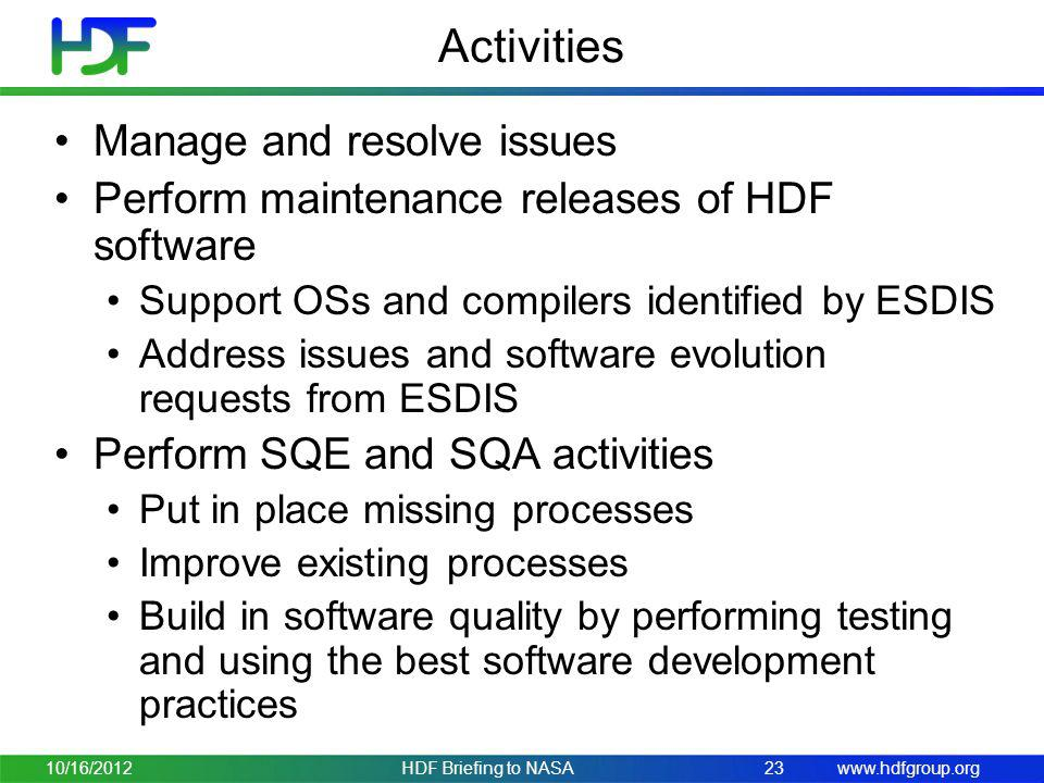Activities Manage and resolve issues