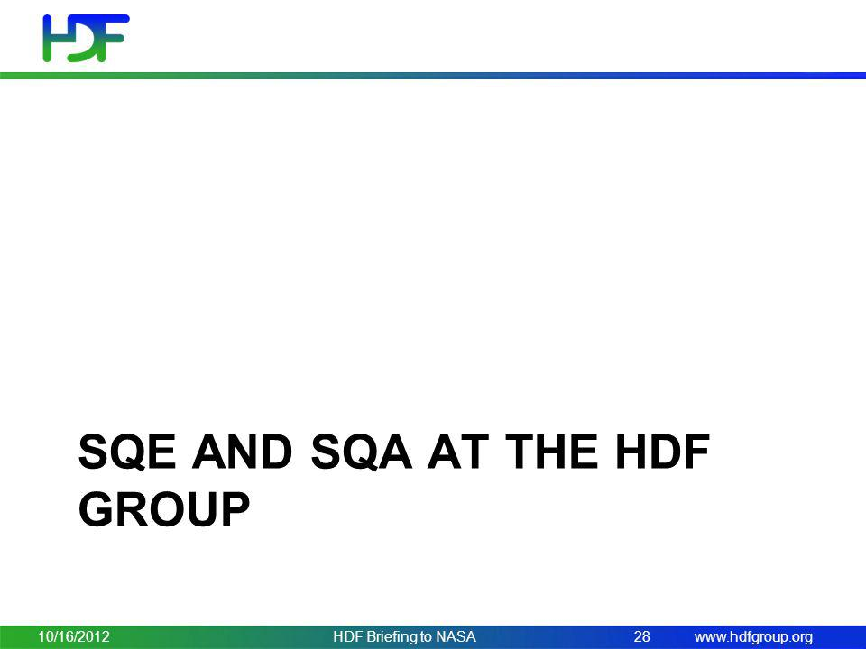 SQE and SQA at the HDF group