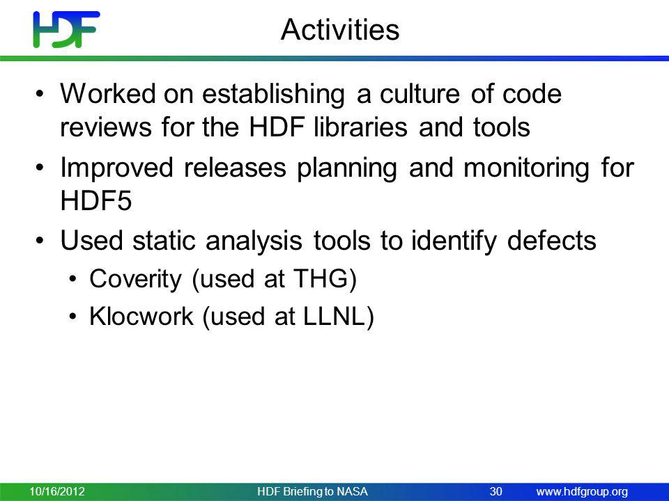 Activities Worked on establishing a culture of code reviews for the HDF libraries and tools. Improved releases planning and monitoring for HDF5.