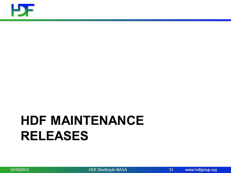 HDF Maintenance releases