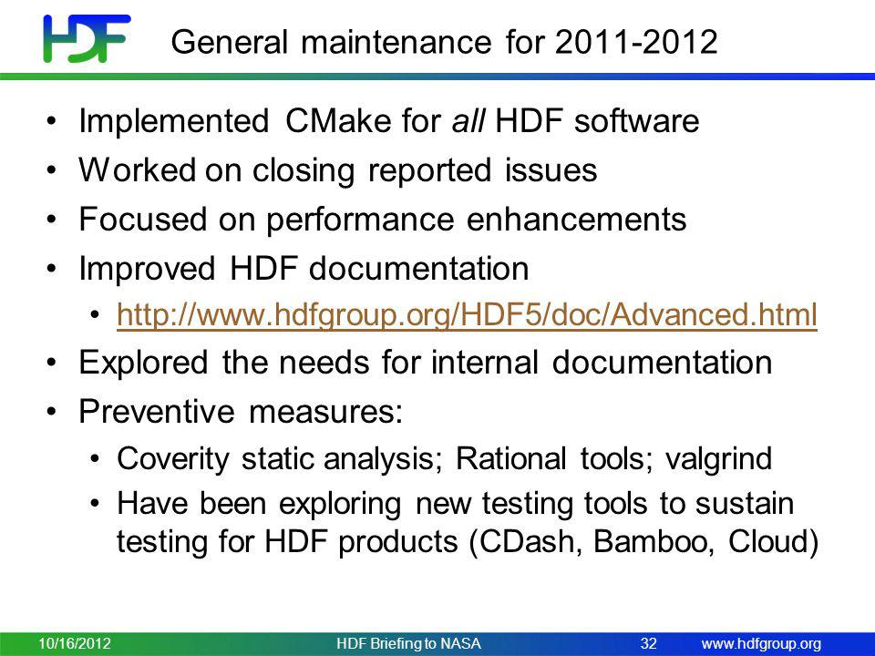 General maintenance for 2011-2012
