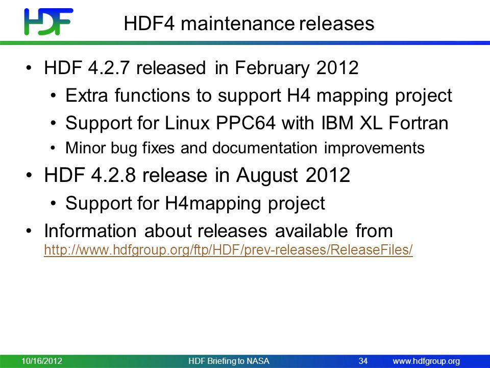 HDF4 maintenance releases