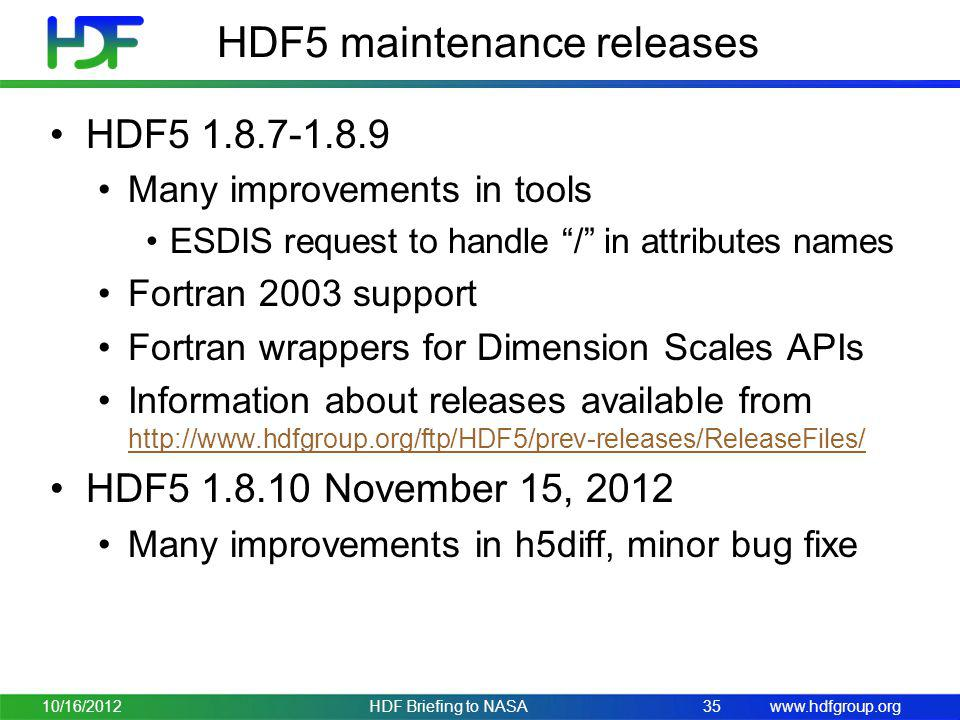 HDF5 maintenance releases