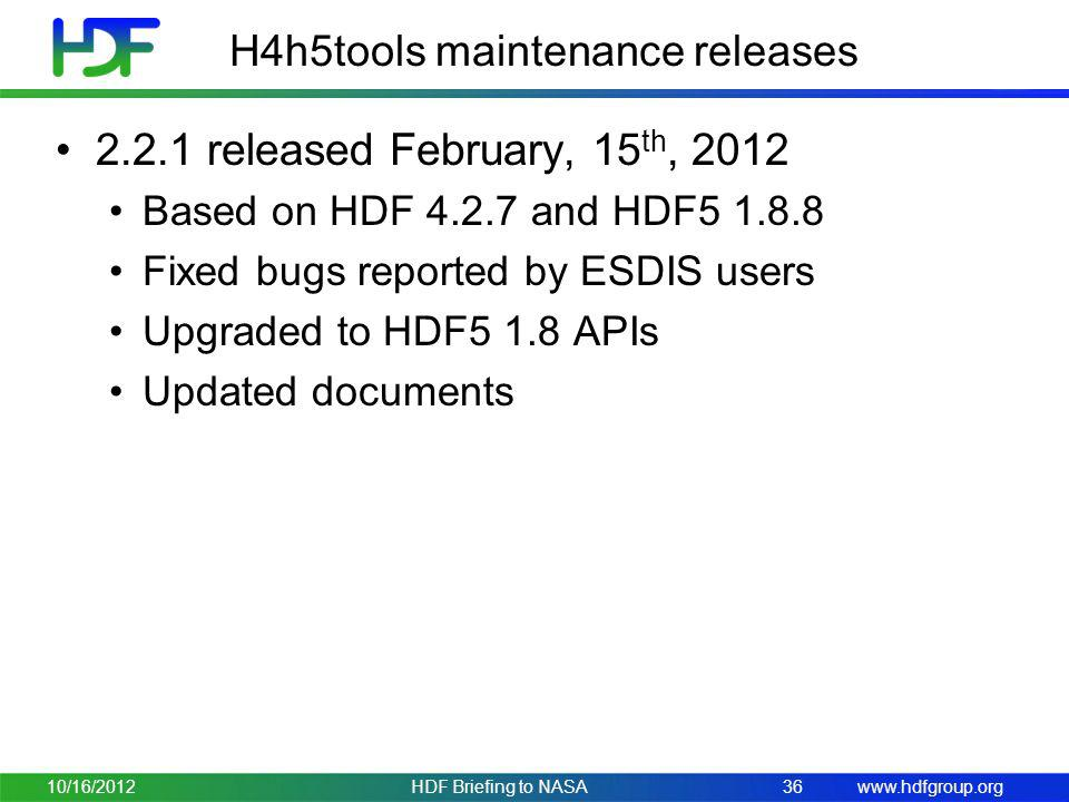 H4h5tools maintenance releases